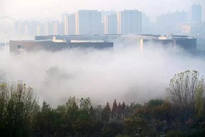 """新华社刊发了一组济宁高新区""""平流雾""""照片,人间仙境!"""