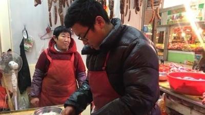 """腊肠添""""年味"""" 济宁灌肠市场很热闹"""