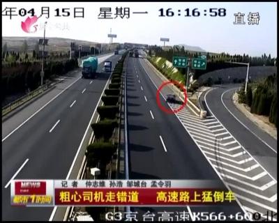 粗心司机走错道 高速路上猛倒车