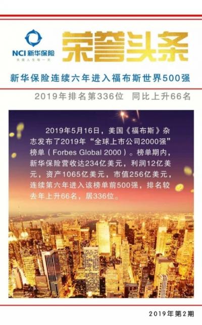 世界500强榜单更新,新华保险上升66位!