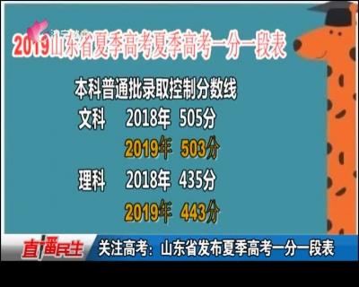 关注高考:山东省发布夏季高考一分一段表
