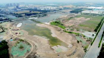 济宁高新区鸿雁湖项目湖底工程基本完成 正在蓄水