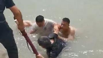一男子不慎落水,济宁武警战士父子合力救人