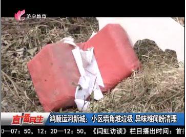 鸿顺运河新城:小区墙角堆垃圾 异味难闻盼清理