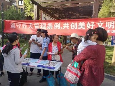 阜桥街道菜市社区开展养犬条例宣传活动