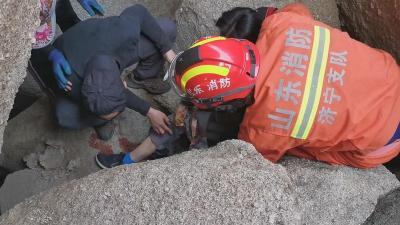 驢友受傷被困山上 鄒城消防緊急救援