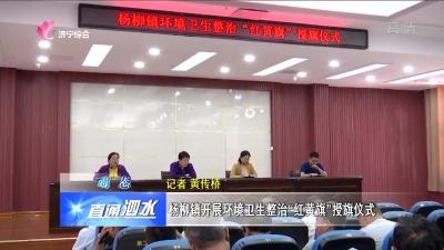 """泗水县杨柳镇开展环境卫生整治""""红黄旗""""授旗仪式"""