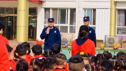 """防患于未""""燃"""" 济宁消防走进接庄街道中心幼儿园"""
