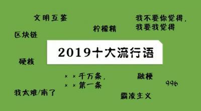 檸檬精、硬核、996…2019年十大流行語新鮮出爐!