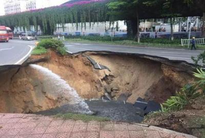 厦门城区发生路面塌陷 被困人员已全部撤出