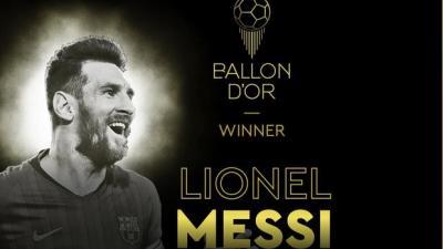 懸念揭曉!梅西獲得個人第六座金球獎,歷史第一人