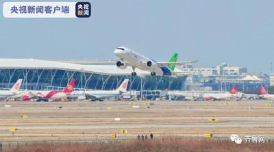 C919大型客机转场山东东营胜利机场展开试飞
