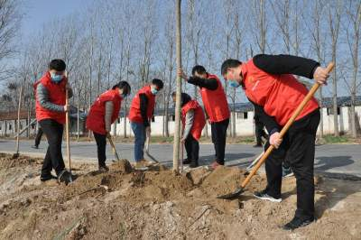 植树添绿正当时 梁山县大路口乡开展植树节活动