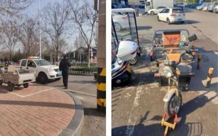 路口商贩占道经营噪音扰民 执法人员现场巡查(图)