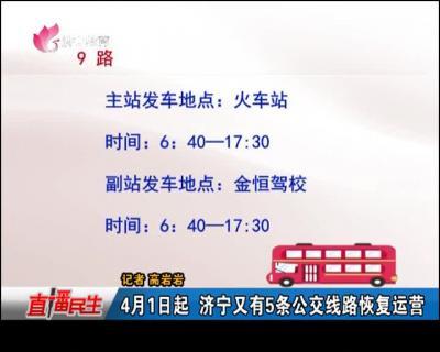 4月1日起 济宁又有5条公交线路恢复运营