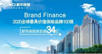 """新华保险连续六年跻身""""全球最具价值保险品牌100强""""!"""