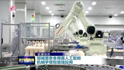 全省首条食用菌人工智能机械手臂生产包装线在邹城投入使用