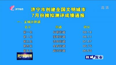 31599com市创建全国文明城市7月份模拟测评成绩通报