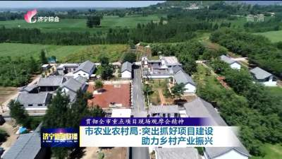 济宁突出抓好项目建设 助力乡村产业振兴