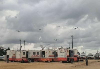 兖州区人防服务中心参加全省人防机动指挥车拉练活动