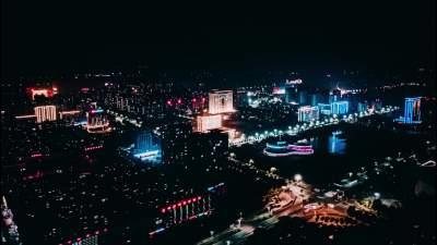 夜幕下的金鄉縣城 華燈璀璨流光溢彩