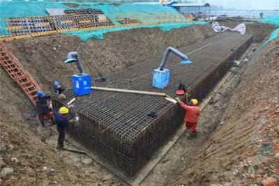 太白湖新区桥梁工程新进展 渔皇路跨老运河桥下部施工基本完成
